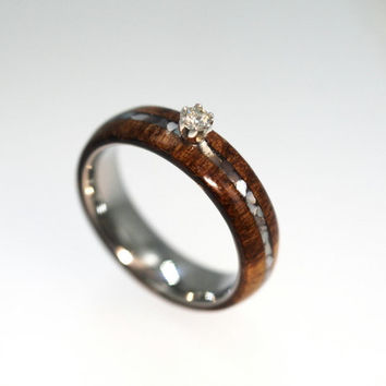 Diamond Ring with Mother Of Pearl and Wood Inlays