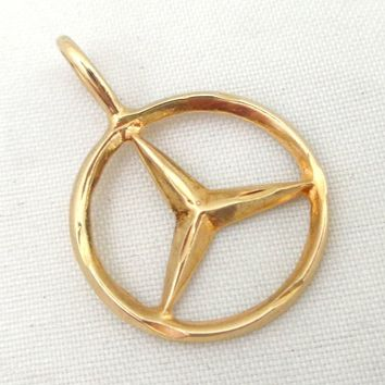 Estate 14K Gold Mercedes Benz Logo Pendant Charm