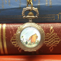 Winnie the pooh pocket watch necklace