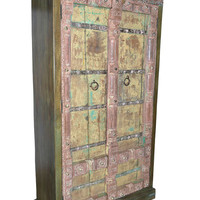 Antique Armoire Furniture Distressed Ochre Cabinet Vintage FARMHOUSE RUSTIC Mediterranean Boho Shabby Chic Interiors
