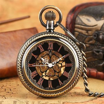 Vintage Retro Mechanical Pocket Watch Fob Chain Crystal Cover Pendant Watches for Men and Women Unisex Steampunk Clock Best Gift