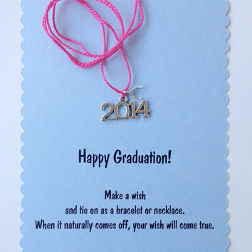 Graduation Wish Bracelet or Necklace with 2014 and wishbone charms