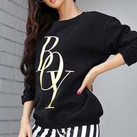 FOREVER 21 Metallic Boy Sweatshirt Black/Gold Large