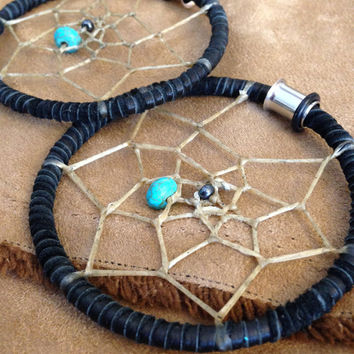 Recycled Leather Dreamcatcher Hoops- Steel - Earrings for Stretched Lobes - Gauges