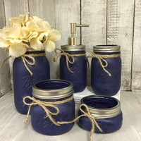 Mason Jar Bathroom Vanity Set / Set of 5 Jars / Navy Blue Painted Mason Jars
