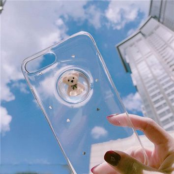 Cute Kawaii Cartoon 3D Bear Clear TPU Soft Case Cover For iPhone X/8/7 plus/6S