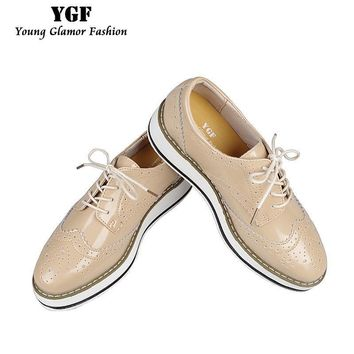 YGF Genuine Leather Flats Platform Shoes Women Classic Brogues Oxford Shoes for Women