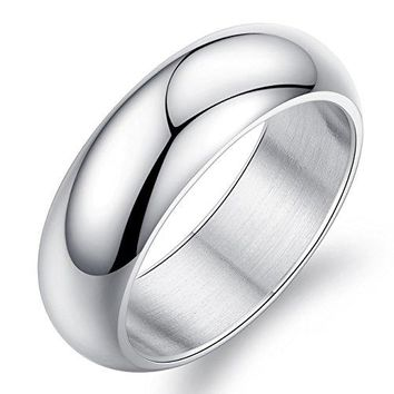 7mm Simple Style Silver Titanium Stainless Steel Wedding Ring Domed 18k White Gold Engagement Band