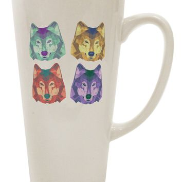 Geometric Wolf Head Pop Art 16 Ounce Conical Latte Coffee Mug by TooLoud