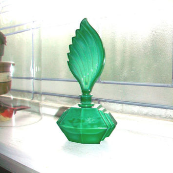 Art Deco Perfume Bottle Vintage Emerald Green by RedRiverAntiques