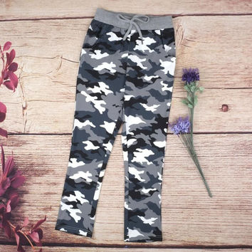 Camouflage Print Strappy Casual Pants Trousers