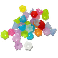 Small Frosted Acrylic Tulip Bell Flower Beads, Mix of Colors