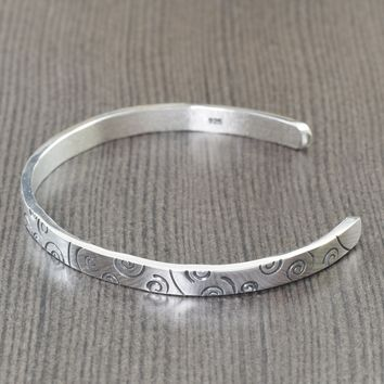 Swirl silver cuff bracelet Unisex bracelet for men or women, adjustable