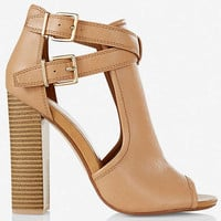 DOUBLE BUCKLE SHIELD PEEP TOE BOOTIE from EXPRESS