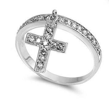 Sterling Silver Dangling Cross Ring with CZ Stones