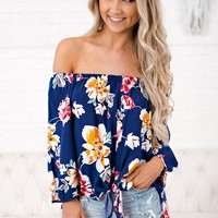 Where You Been Floral Top (Navy)