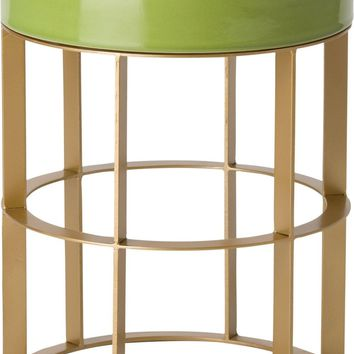 Large Milo Metal Stool/Table Powdercoated Gold With A Apple Green Ceramic Top