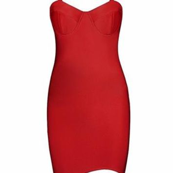 Yours Truly Red Sleeveless Mock Neck Cut Out Sweetheart Bodycon Bandage Mini Dress