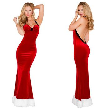 Women Christmas Clothes Party Uniform Backless Sleeveless  Halter Maxi Dress
