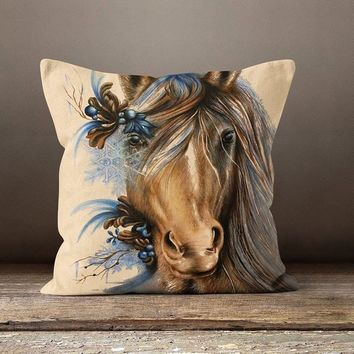 Horse Printed Pillow Cover, Velvet 20x20 Cushion, Animal Portrait Pillows, Animal Lovers Gift, Gift For Father's Day, Gift For Daddy