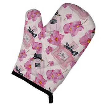Watercolor Pink Flowers and Perfume Oven Mitt BB7510OVMT