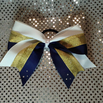 White Navy and Gold Softball Hair Bow with Elastic