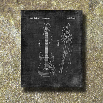 Guitar Patent Art Illustration Printable Instant Download Print Poster UP001gr
