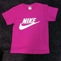 Nike Women Men  T-shirt Fashion Short Sleeve Print Letters Top Roses