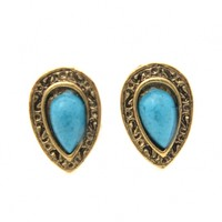 Deluxe Turquoise Teardrop Pattern Faux Stone Stud Earrings - OASAP.com