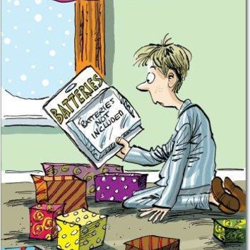 12 Box of Batteries Not Included Christmas Humor Christmas Greeting Cards; with Envelopes : Greeting Cards