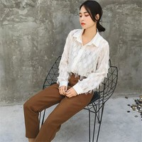 2017 Fashion New Summer Full Sleeve Blouse Women Plus Size Tops Casual Turn-down Shirt Tassel Blasus With Button 72313