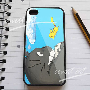 Totoro love Pikachu pokemon Painting  for iPhone 4 / 4S / 5 Case Samsung Galaxy S3 / S4 Case