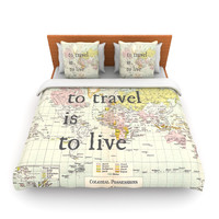 "Catherine Holcombe ""To Travel Is To Live"" Color Map King Fleece Duvet Cover - Outlet Item"