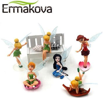 ICIKF4S ERMAKOVA 6 Pcs/Set Flower Fairy Figurine Cartoon Angel Miniature Fairy Garden Landscape Ornament Fondant Cake Decor Baking Tool
