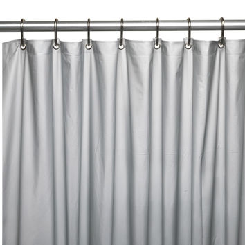 "Royal Bath Extra Heavy 8 Gauge Vinyl Shower Curtain Liner with Metal Grommets (72"" x 72"") - Silver"