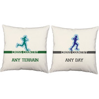Set of 2 Any Terrain Any Day Pillows - Cross Country Pillow Covers and Or Cushion Inserts - Running Print, Cross Country, Run, Fit Life, XC