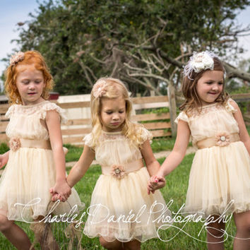 The Original Charlotte - Vintage Beige, Lace, Chiffon Flower Girl Dress, made for girls, toddlers, ages 1T, 2T,3T,4T,5T, 6, 7, 8, 9/10