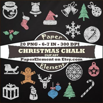 Christmas Chalk Clipart - Chalkboard Christmas Clip Art - Doodles Overlay - Digital Scrapbooking
