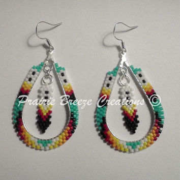 Turquoise Teardrop Beaded Dangle Earrings