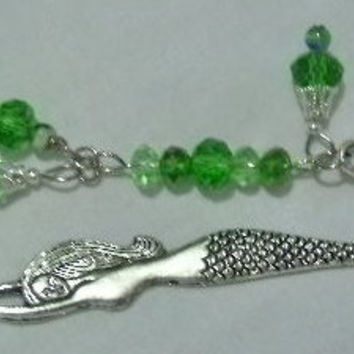 Beaded Mermaid Bookmark -  Shades of Greens Swarovski Crystals & Millefiori Glass Beads