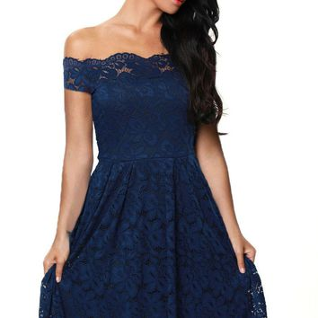 Navy Blue Scalloped Off Shoulder Short Sleeve Lace Flared Dress