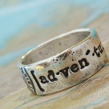 Adventure Ring, Fine Silver Word Jewelry, Not All Who Wander Are Lost Ring, World Traveler Gift, Sizes 5 6 7 8 9 10 11 12 13 14