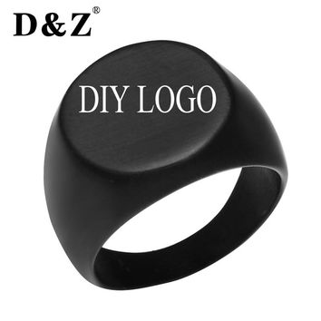 D&Z Punk Custom Engraved Black Smooth Rings for Men Stainless Steel Logo Pattern Signet Glossy Mens Ring Jewelry Unique Gifts