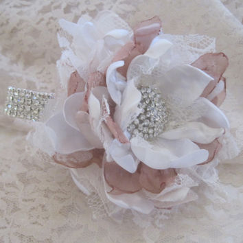 Rhinestone Wrist Corsage Bracelet Ivory Satin Dusty Rose Chiffon and Lace Bridesmaid Mother of the Bride Prom Custom Made