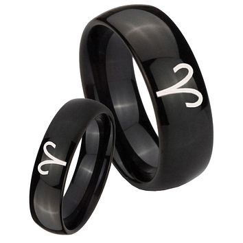 His Her Classic Dome Aries Zodiac Shiny Black Tungsten Wedding Rings Set