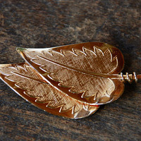 Vintage CORO Pegasus Leaf Brooch Textured Gold Tone Two Leaves Mid Century 1960's // Vintage Designer Costume Jewelry