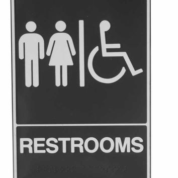 "Unisex Restroom Ada Approved Braille 6"" X 9"" Sign"