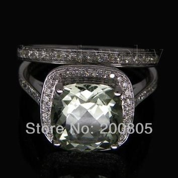 5.18Ct Diamond Green Amethyst Ring Matching Wedding Band Ring In 14K/585 White Gold For Sale