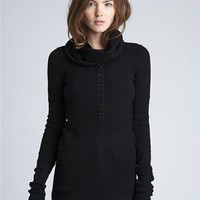 Cashmere Stretch Henley with Cowl Neck