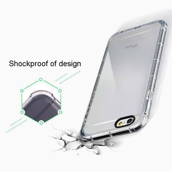 case for iPhone 5 5S SE 6 6S Plus TPU Crashproof Shockproof Transparent soft clear cover case
